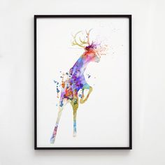 Animal decor. Colorful print. Deer watercolor.  Printed on high quality art paper.  SIZES:  8.3 x 11.7 (A4) 11.7 x 16.5 (A3)  This print comes