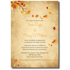 Beautiful Wedding Announcements One Sided Colorful Wedding Invitations, Affordable Wedding Invitations, Wedding Colors, Wedding Places, Wedding Place Cards, Marriage Cards, Wedding Announcements, One Sided, Autumn Wedding