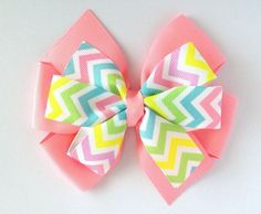 Pastel Chevron Hair Bow Layered Classic Pinwheel Hair Bow for Baby, Infant, Toddler or Girl on Etsy, $5.00