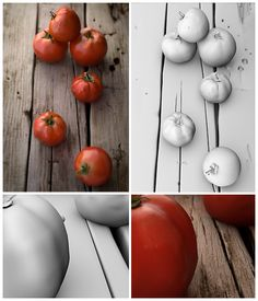 This shading and lighting project was created by Nicole Gorney (Full Sail Computer Animation, 2012 graduate) so that each tomato has its own skin shader and texture map. Click the images see the detail up close.