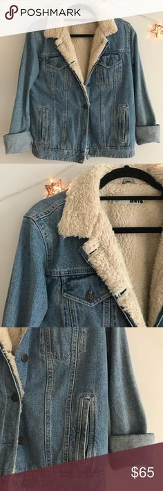 Denim Shearling Jacket Denim jacket with furry shearling detail on inside. Topshop Jackets & Coats