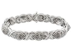 Diamond 3.00ctw Round & Tapered Baguette Rhodium Over Sterling Silver Bracelet