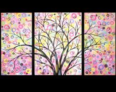 Large Abstract Tree Painting Modern Triptych Landscape Contemporary Canvas Art Surreal Whimsical 24x42 JMichael