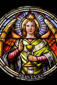 Stain glass and painted glass of St. Michael the Archangel
