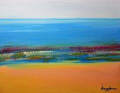 """Arrachme Contemporary Art: Original Contemporary Seascape Painting """"Recurring..."""
