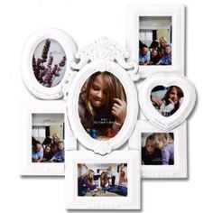 Amazon.com: 7 Opening Photo Picture Frame - XSJ360 ADECO - Wall Art, Wall Collage,Stylish Molded,Holds Seven Different Size Photos Great Gift,Wooden,White: Home & Kitchen