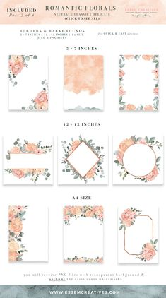This is a set of watercolor floral clip art graphics featuring flower bouquets, wreaths, floral borders and backgrounds, geometric rose gold frames, separate elements and bonus watercolor paint splashes. Romantic Flowers, Bridal Flowers, Logo Floral, Rose Gold Frame, Gold Frames, Watercolor Wedding Invitations, Wedding Invitation Background, Birthday Invitations, Peach Wedding Invitations