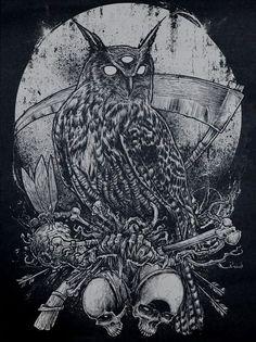 The third eye of the owl suggests psychic powers, while the bones it rests upon… Arte Horror, Horror Art, Dark Fantasy, Fantasy Art, Modelos Pin Up, Desenho Tattoo, Owl Art, Gothic Art, Gravure