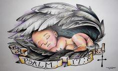 Baby-Angel-Holding-Cross-&-Roses-Tattoo-photo-1