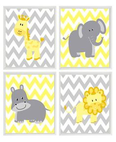 Yellow Gray Nursery - Chevron Elephant Giraffe Hippo Lion Safari Wall Art Print Set 4 8x10