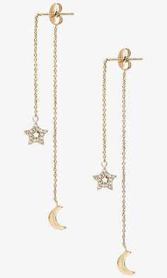 Star Front And Moon Back Drop Earrings from EXPRESS