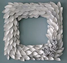 square white paper wreath 18 inch newspaper rosette and leaf