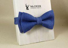 Blue Denim Bow Tie - Bow ties for men - Adult Bow Tie - Mens bowtie - Groomsman, Wedding, Boho, Hipster Bow Tie - Gift for Him - Mr.DEER by MrDEERbowtie on Etsy