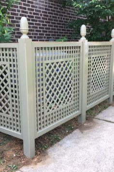 of AC cover An unsightly AC unit is hidden with custom decorative latticework panels in the Musset design. Painted in custom color. An unsightly AC unit is hidden with custom decorative latticework panels in the Musset design. Painted in custom color. Backyard Privacy, Backyard Fences, Outdoor Rooms, Outdoor Living, Ac Cover, Fence Design, Lattice Design, Railing Design, Garden Gates And Fencing
