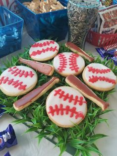 Baseball amd bat sugar cookies on fake grass square from 99 cent store Fake Grass, Sports Birthday, Sugar Cookies, Bubbles, Baseball, Store, Desserts, Food, Essen