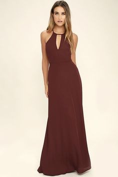 Catch everyone's attention as you glide on to the dance floor in the Beauty and Grace Burgundy Maxi Dress! A high, halter neckline, with a keyhole cutout, tops a sleeveless bodice with a racerback. Woven poly sweeps down into a figure skimming maxi skirt. Hidden back zipper.