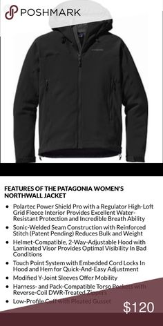 Women's Northwall Jacket Softshell jacket lined with a warm fleece! Stretchy, comfortable, and warm! Only warn a couple of times, great condition! Patagonia Jackets & Coats