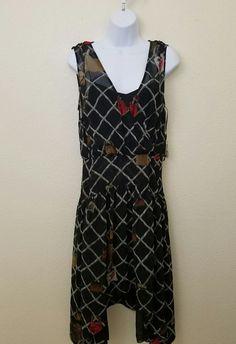 NEW Rachel Roy NEW Printed Back Zipper Asymmetrical Dress Black  10 MSRP $129 #RachelRoy #AsymmetricalHemEmpireWaist