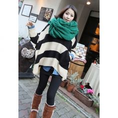 $12.38 Casual Scoop Neck Stripe Print Batwing Sleeve Acrylic Sweater For Women