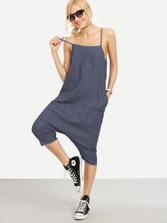 Buttoned Drop Crotch Denim Harem Jumpsuit