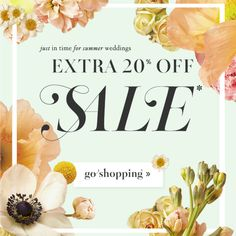 Just in time for summer weddings...take an extra 20% off sale at BHLDN! (excluding gowns)