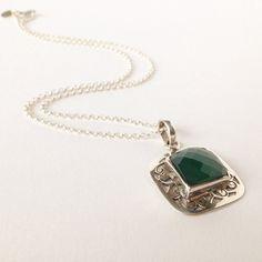 Zilveren ketting, Ketting met aventurijn, Groene aventurijn, Ketting met hanger, Groene ketting, Facetgeslepen aventurijn, Green Aventurine