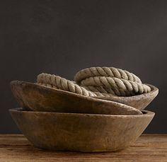 vintage indian wooden bowls rest hardware
