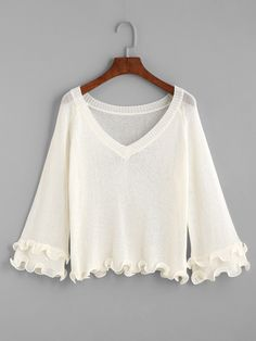 792e59b74e6f6 White V Neck Ruffle Hem Sweater EmmaCloth-Women Fast Fashion Online
