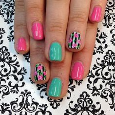 Shellac nail art Bright colors with a classic rose is on trend and I love the soft with the vibrant