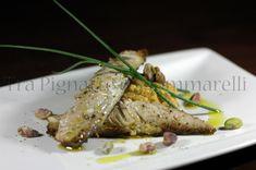 Le mie ricette - Sgombro saltato in zenzero e arancia, con crema di ceci e pomodori Marinda | Tra pignatte e sgommarelli