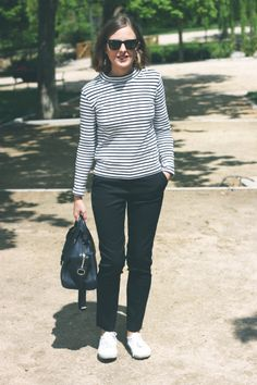 Trini:  Petit Bateau top, The Kooples trousers, Superga sneakers and Louis Vuitton handbag.