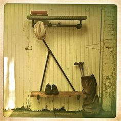 Great use of found metal tubing and old boards. Up cycling delight.