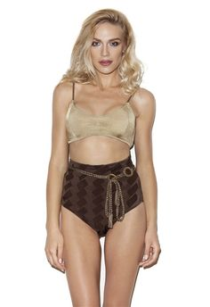 $150- Gold sport bra with rope straps and brown wicker look high waisted bottom. Comes with the belt. #5pmswimwear #luxuryswimwear #bikini #gold #brown #swimwear #summer #textured