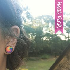 HP!  Rainbow Tie Dye Earrings Handmade earrings with rainbow tie dye images under glass domes. Bundle 3 pairs for $12, comment with your choices or create a bundle to get discount. ❤️. Customer photos shown for size comparison only. Handmade Jewelry Earrings