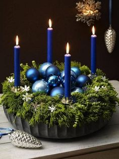 Most Fabulous Blue Christmas Decorating Ideas Christmas Celebrations Blue Christmas Decor, Noel Christmas, Christmas Candles, Simple Christmas, All Things Christmas, Winter Christmas, Christmas Wreaths, Christmas Crafts, Victorian Christmas