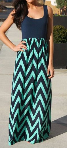 Adorable Green&Black Patterned Maxi Dress for Ladies