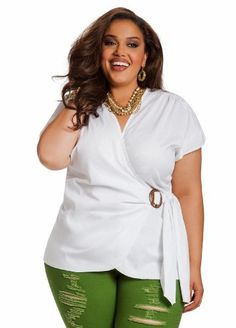Save $5.90 on Ashley Stewart Women`s Plus Size Belted Wrap Top; only $23.60 + Free Shipping