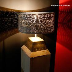 Filigrain lampenkap wit met goud 35 cm - introductieprijs!