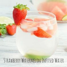 Strawberries, watermelon, and lime infused water makes a refreshing summer drink.