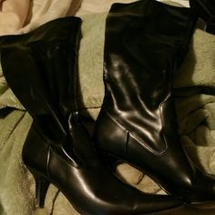 Rampage Black Faux Leather Boots Size 7.5 Size 7.5 Rampage Black Faux Leather Boots. Very good used condition with lots of life left in them. Calf has a good amount of streach to accommodate a larger calf but perfectly hugs an average calf. Heel is a very manageable height for work or play. Rampage Shoes