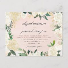 Shop Chic Pastel Pink Watercolor Floral Wedding Invitation Postcard created by StonkingStuff. Postcard Wedding Invitation, Floral Invitation, Floral Wedding Invitations, Invitation Cards, Wedding Checklist Timeline, Wedding Planning Checklist, Chic Wedding, Wedding Blog, Lace Wedding