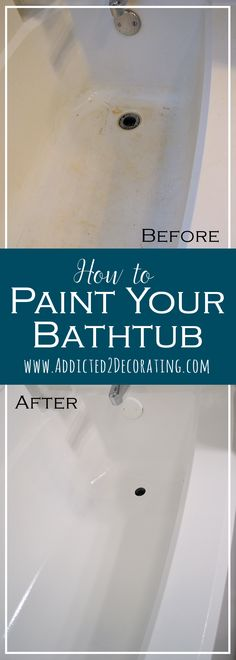 Bathroom Makeover Day How To Paint A Bathtub - Addicted 2 Decorating Home Renovation, Home Remodeling, Bathroom Remodeling, Painting Bathtub, Tile Painting, Bathtub Tile, Diy Bathtub, Bathtub Ideas, Spray Painting