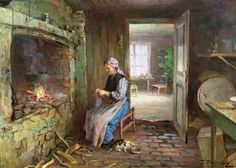 Woman knitting by the fireplace (oil on canvas), Ulving, Even / Private Collection / Photo © O. Vaering / The Bridgeman Art Library Sewing Cards, Knit Art, Historical Pictures, Illustrations, Artist Art, Knitting Projects, Female Art, Art Images, Painting & Drawing