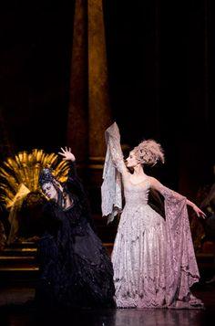 Samara Downs as Carabosse and Andrea Tredinnick as the Lilac Fairy in Birmingham Royal Ballet's Sleeping Beauty; photo: Bill Cooper