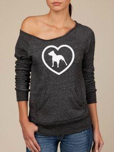 Pitbull Love in White -- design on Wide neck fleece sweatshirt. Sizes S-XL.. $40.00, via Etsy.