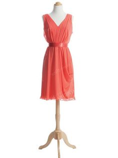 coral bridesmaid dress prom dress bridesmaid chiffon by sofitdress