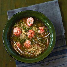 Garnelen-Nudel-Suppe