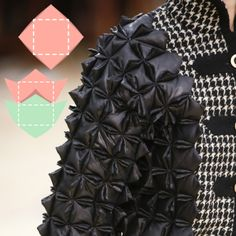 Fabric Manipulations at Chanel. Chanel, AW15, Paris, Image 3. Small pillows appear to be stitched in square patterns and joined to create texture.