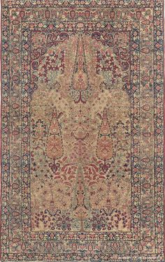 """LAVER KIRMAN 'GARDEN OF PARADISE', Southeast Persian, 4ft 4in x 6ft 11in, 3rd Quarter, 19th Century. Delicately rendered cypress trees create an atmosphere of profound elegance in this deeply sophisticated antique Persian Laver Kirman Oriental carpet, where the beloved """"Garden of Paradise"""" design is executed with awe-inspiring fluidity."""