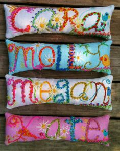 Freehand Embroidered Bohemian Letters Name Pillow Personalized Custom Made Up To Five Letters YelliKelli by YelliKelli on Etsy https://www.etsy.com/listing/83551460/freehand-embroidered-bohemian-letters